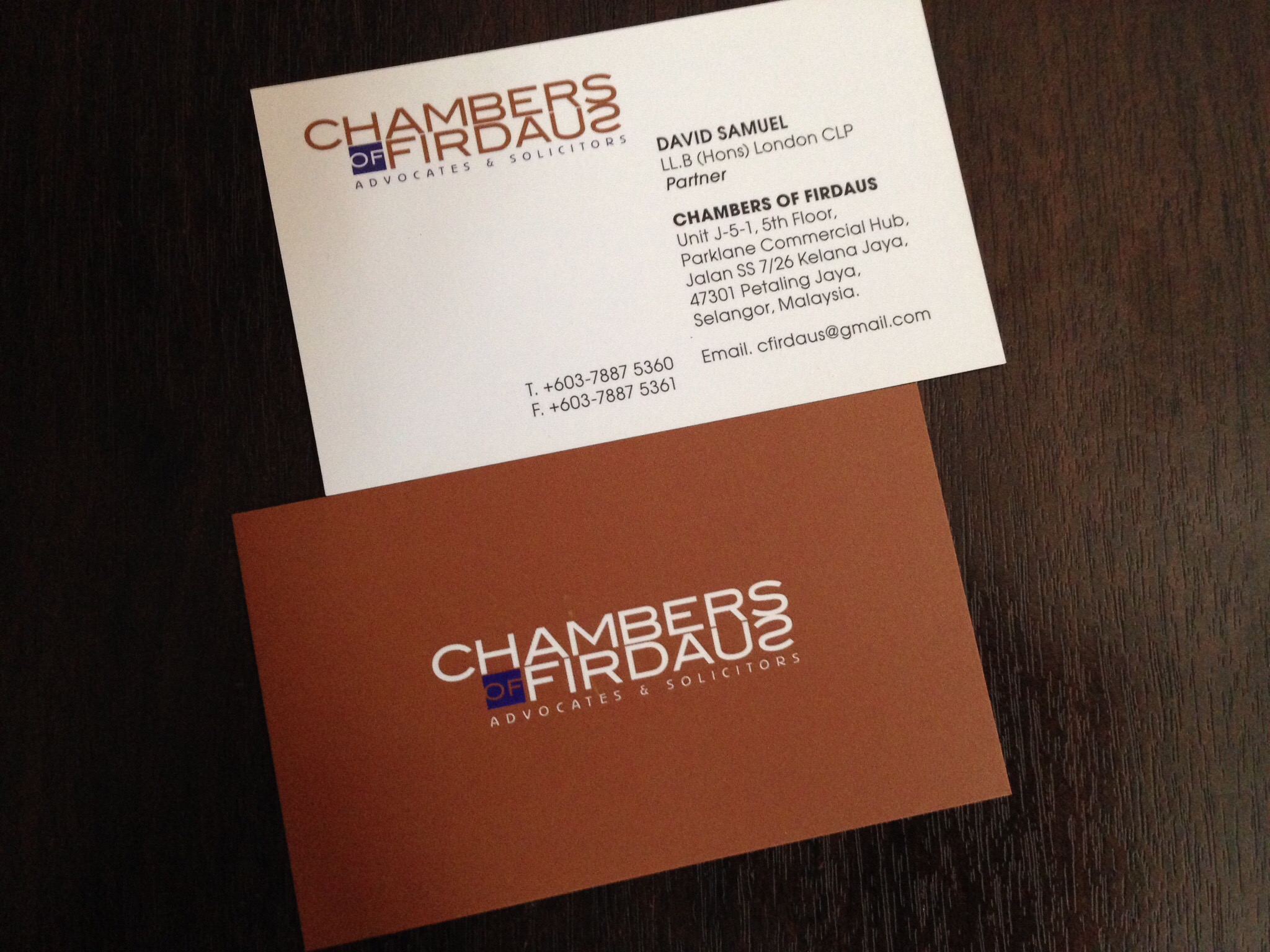 Business card design for law legal firm