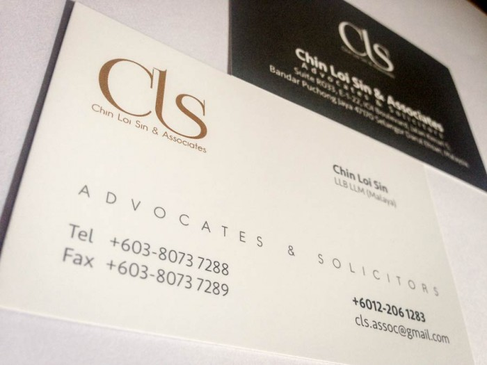 Business card design for Chin Loi Sin & Associates