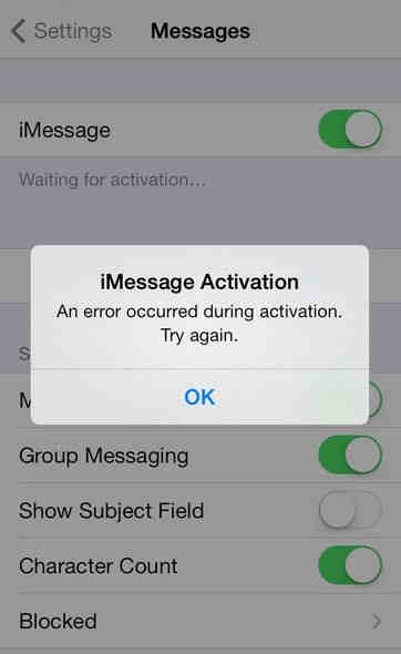 iMessage waiting for activation error